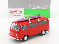 Volkswagen VW T2 Bus mit Surfbrett Baujahr 1972 rot 1:24 Welly