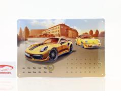 Porsche 911 Turbo S Exclusive Calendário anual Blechschild 20 x 30 cm