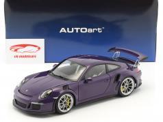 Porsche 911 (991) GT3 RS Opførselsår 2016 ultra violet med sølv hjul 1:18 AUTOart
