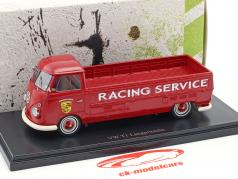 Volkswagen VW T1 long bed Porsche Racing service red 1:43 AutoCult