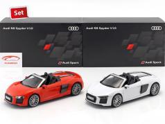 2-Car Set Audi R8 Spyder V10 suzuka gray & dynamite red 1:18 iScale