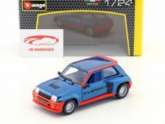 Renault 5 Turbo Bouwjaar 1982 blauw / rood 1:24 Bburago
