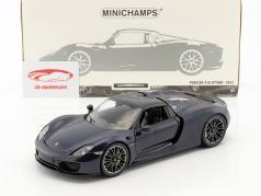 Porsche 918 Spyder Opførselsår 2015 blå metallisk 1:18 Minichamps