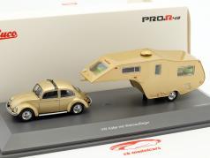 Volkswagen VW bille med Campingvogn guld metallisk 1:43 Schuco