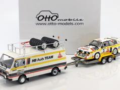 3-Car Set Rallye Portugal 1986: VW LT45   Audi Quattro S1 Gr. B #3   Trailer 1:18 Otto móvel