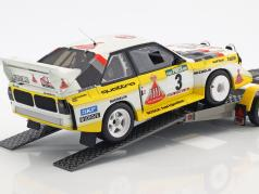 3-Car Set Rallye Portogallo 1986: VW LT45   Audi Quattro S1 Gr. B #3   Trailer 1:18 Otto mobile