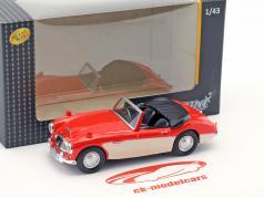 Austin Healey convertible abierto superior rojo / crema blanco 1:43 Cararama