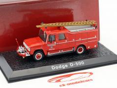 Dodge D-500 bombeiros Watou (Bélgica) ano de construção 1958 vermelho 1:72 Atlas