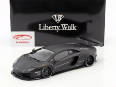 Lamborghini Aventador Liberty Walk LB-Work Bouwjaar 2015 mat zwart 1:18 AUTOart