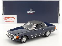 Mercedes-Benz 300 SL (R107) cabriolé con softtop año de construcción 1986 azul oscuro 1:18 Norev