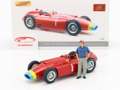 J.M. Fangio Ferrari D50 #1 campeão do mundo fórmula 1 1956 com figura 1:18 CMC