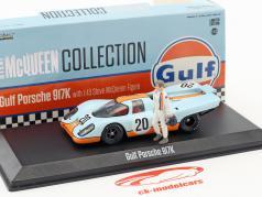 Gulf Porsche 917K #20 com Steve McQueen figura gulf azul / laranja 1:43 Greenlight