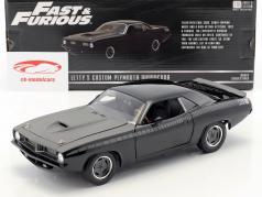 Letty's Custom Plymouth Barracuda filme Fast & Furious 7 (2015) preto 1:18 Greenlight
