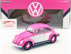 Volkswagen VW bille RHD Opførselsår 1967 pink / hvid 1:18 Greenlight