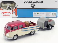 Volkswagen VW Type 2 T1 Pick-Up Week at the Beach Set violet / creme / grå 1:24 MotorMax