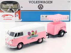 Volkswagen VW Type 2 T1 van Ice Cream Set pink / hvid 1:24 MotorMax