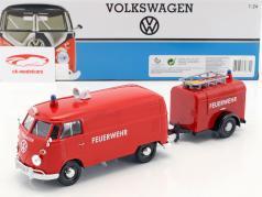 Volkswagen VW Type 2 T1 van bombeiros Set vermelho 1:24 MotorMax