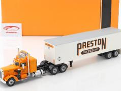 Peterbilt 350 vrachtwagen Preston People Bouwjaar 1952 oranje / crème wit 1:43 Ixo
