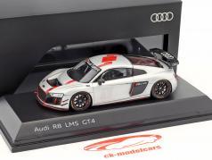 Audi R8 LMS GT4 presentazione auto argento / nero / rosso 1:43 Spark