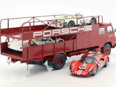 MAN 635 レーシング トランスポーター Porsche 築 1960 赤 1:18 Schuco