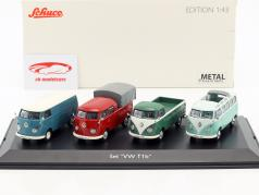 4-Car Set Volkswagen VW T1b mit VW T1b Samba, Kastenwagen, Doppelkabine, Pritschenwagen 1:43 Schuco