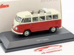 Volkswagen VW T1 Samba autobus rosso / beige 1:43 Schuco