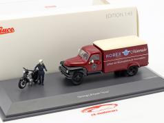 Hanomag L28 kasse van med Horex Regina og chauffør figur rød / beige / sort 1:43 Schuco