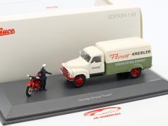 Hanomag L28 Kastenwagen mit Kreidler Florett und Fahrerfigur weiß / grün / rot 1:43 Schuco