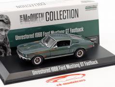 Ford Mustang GT Fastback urestaureret Steve McQueen film Bullitt (1968) grøn 1:43 Greenlight