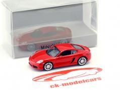 Porsche 718 Cayman Bouwjaar 2016 rood 1:87 Minichamps
