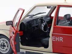Volkswagen VW Golf 1 brandweer Bouwjaar 1974 rood / Wit 1:18 Solido