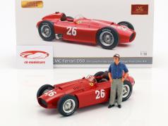 J.M. Fangio / P. Collins Ferrari D50 #26 2e Italië GP formule 1 1956 met figuur J.M. Fangio 1:18 CMC
