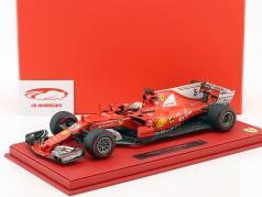 Sebastian Vettel Ferrari SF70H #5 vincitore monaco GP formula 1 2017 con vetrina  1:18 BBR