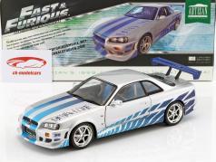 Brian's Nissan Skyline GT-R (R34) ano 1999 filme 2 Fast 2 Furious 2003 1:18 Greenlight