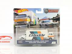 2-Car Set Sakura sprinter met Nissan Laurel 2000 SGX wit / blauw / oranje 1:64 HotWheels