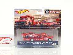 2-Car Set transporter Retro Rig with Plymouth Duster Funny Car red 1:64 HotWheels