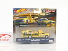 2-Car Set transportador Retro Rig com Plymouth Cuda Funny Car ano de construção 1972 amarelo 1:64 HotWheels