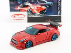 Nissan GT-R Tokyo Mod ano de construção 2009 vermelho 1:24 Maisto