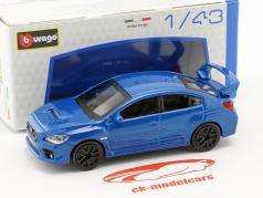 Subaru WRX STI ano de construção 2017 azul metálico 1:43 Bburago