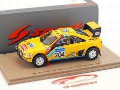 Peugeot 405 T16 Grand Raid #204 segundo Rallye Dakar 1990 Waldegard, Fenouil 1:43 Spark