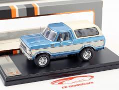 Ford Bronco Bouwjaar 1978 blauw metalen / wit 1:43 PremiumX