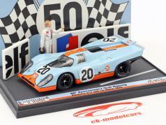 Porsche 917K #20 50th Anniversary Gulf Racing 24h LeMans 1970 con figura & Junta de publicidad 1:43 Brumm