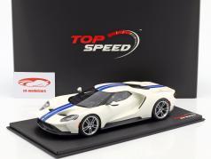 Ford GT branco com azul listras 1:18 TrueScale