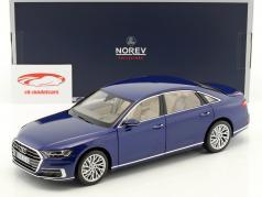 Audi A8 L anno di costruzione 2017 blu metallico 1:18 Norev