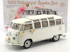 Volkswagen VW T1 Samba Bus Opførselsår 1962 Bryllup udgave hvid 1:12 SunStar
