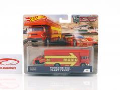 Set Team Transport: Porsche 962 & Fleet Flyer red / yellow 1:64 HotWheels