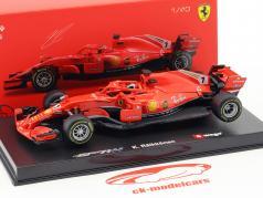 Kimi Räikkönen Ferrari SF71H #7 fórmula 1 2018 com motorista figura 1:43 Bburago