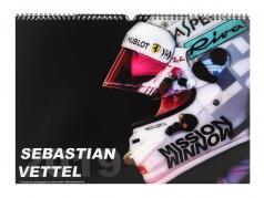Sebastian Vettel formel 1 2019 gloss månedlige væg kalender 42 x 29,7 cm
