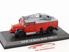 MAN 758 L1 RKW 10 Metz Feuerwehr Baujahr 1955 rot 1:72 Altaya