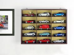 Wooden high-quality showcase / wall showcase for 15 modelcars brown 1:43 Atlas